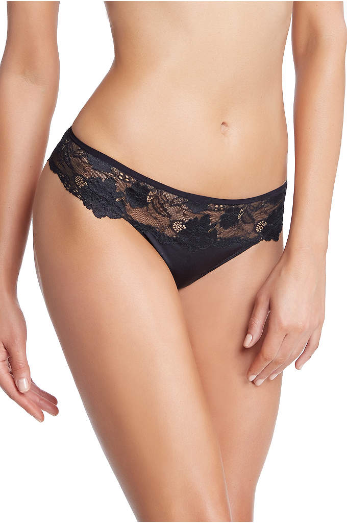 Felina Monica Lace and Satin Thong - This low-rise satin and lace thong is finished