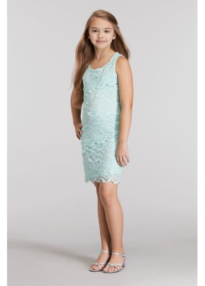Short Tiered Lace Dress with Necklace 53009