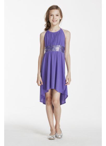 High Low Purple Soft & Flowy David's Bridal Bridesmaid Dress