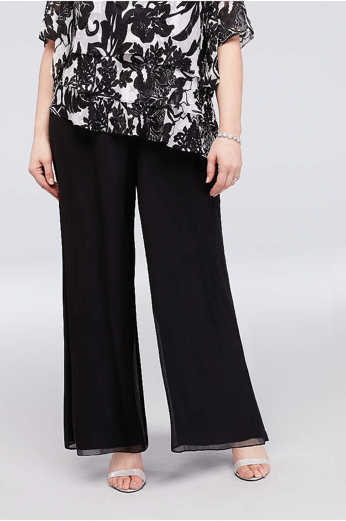 Chiffon Wide-Leg Pants with Waist Tie - A flowy pair of chiffon wide-leg pants, topped