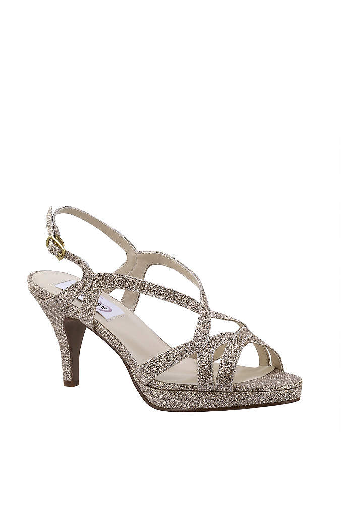 Cross-Strap Mid-Heel Platform Pumps - This shimmery, strappy mid-heel pair is made even