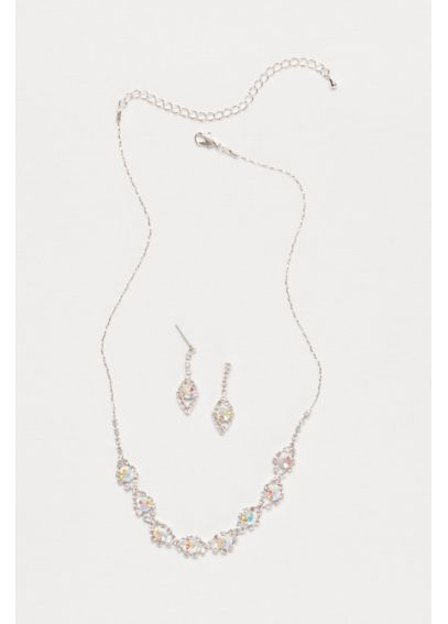 Teardrop Crystal Necklace and Earring Set 53455