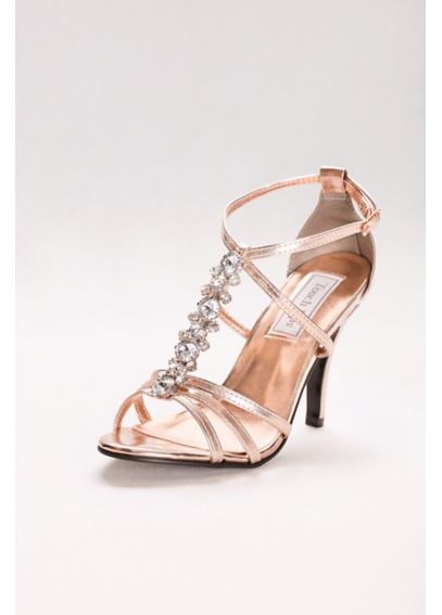 Vanessa Metallic T-Strap Sandal with Crystal Row 535