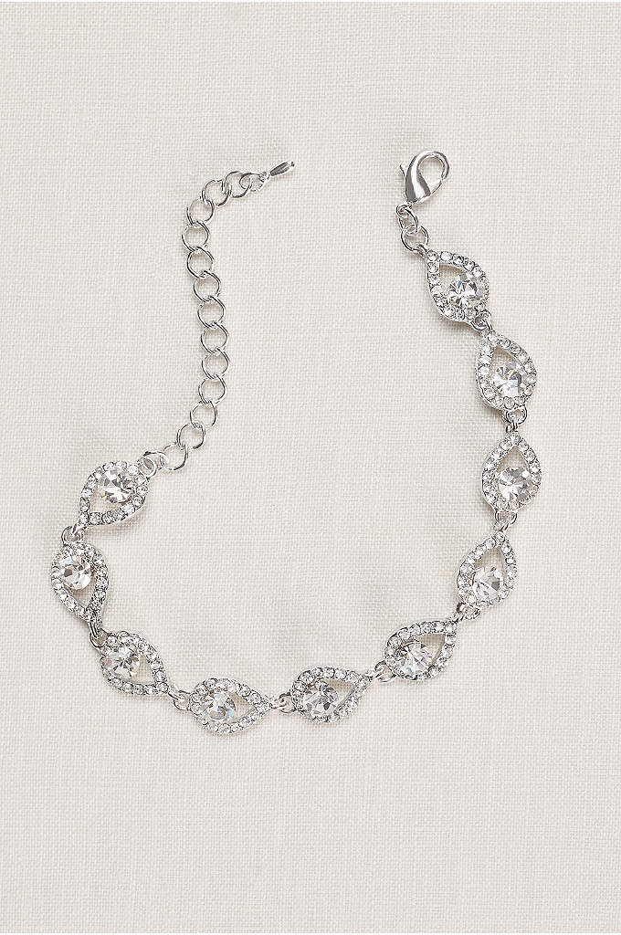 Teardrop and Pave Link Cubic Zirconia Bracelet - Pave teardrops frame gleaming cubic zirconias on this