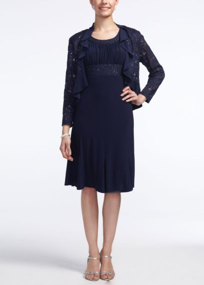 3/4 Sleeve Lace Ruffle Jersey Jacket Dress 5393