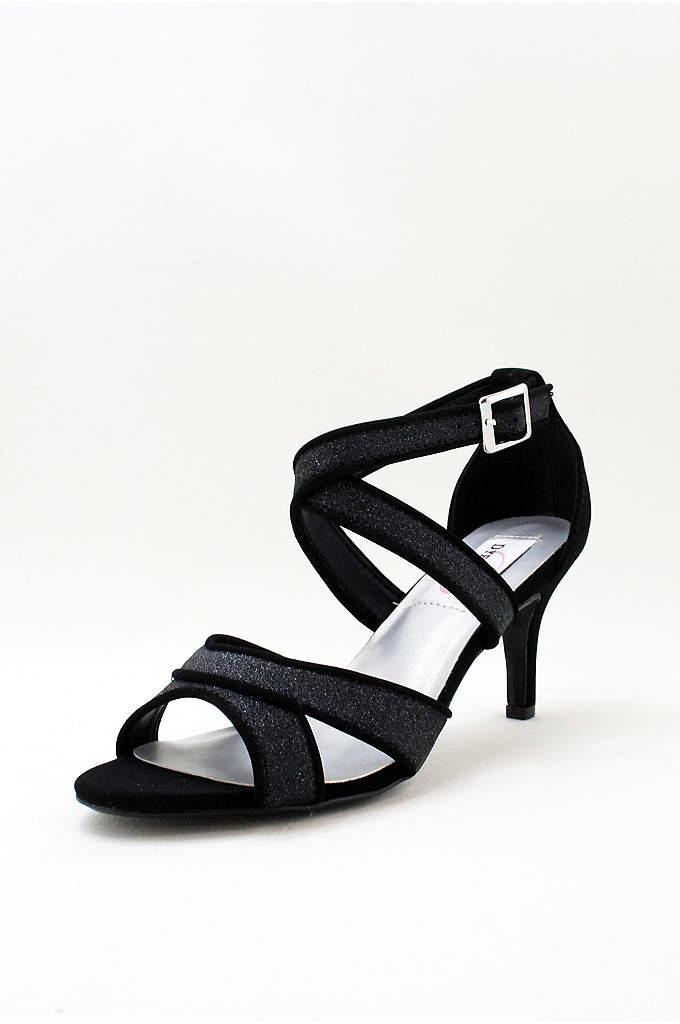 Glitter Crisscross Strap Mid-Heels - Sleek straps cross the vamp of these glittery