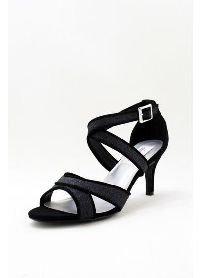 Dyeables Grey (Glitter Crisscross Strap Mid-Heels)