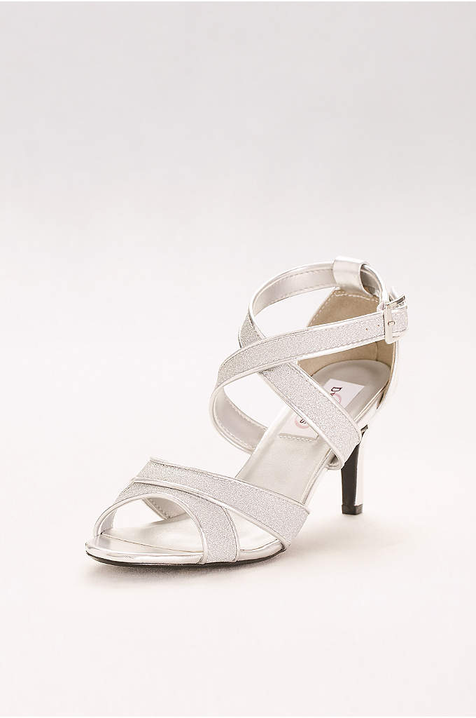 Glitter Crisscross Strap Mid-Heels - Sleek straps cross the vamp of these glittery