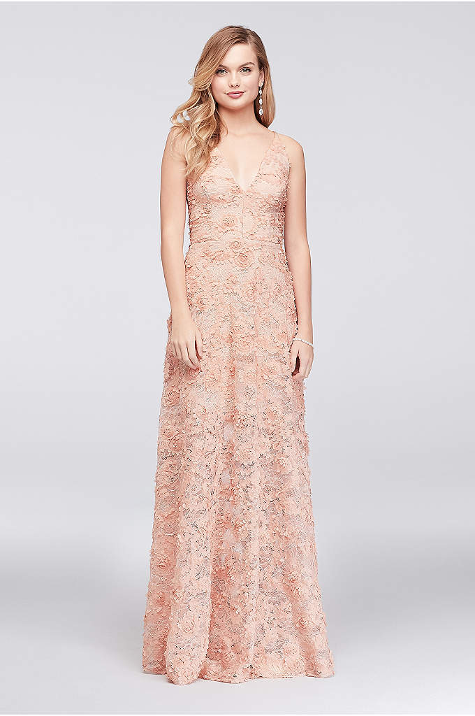 3D Floral Applique Lace A-Line Gown - Give your prom corsage a run for the