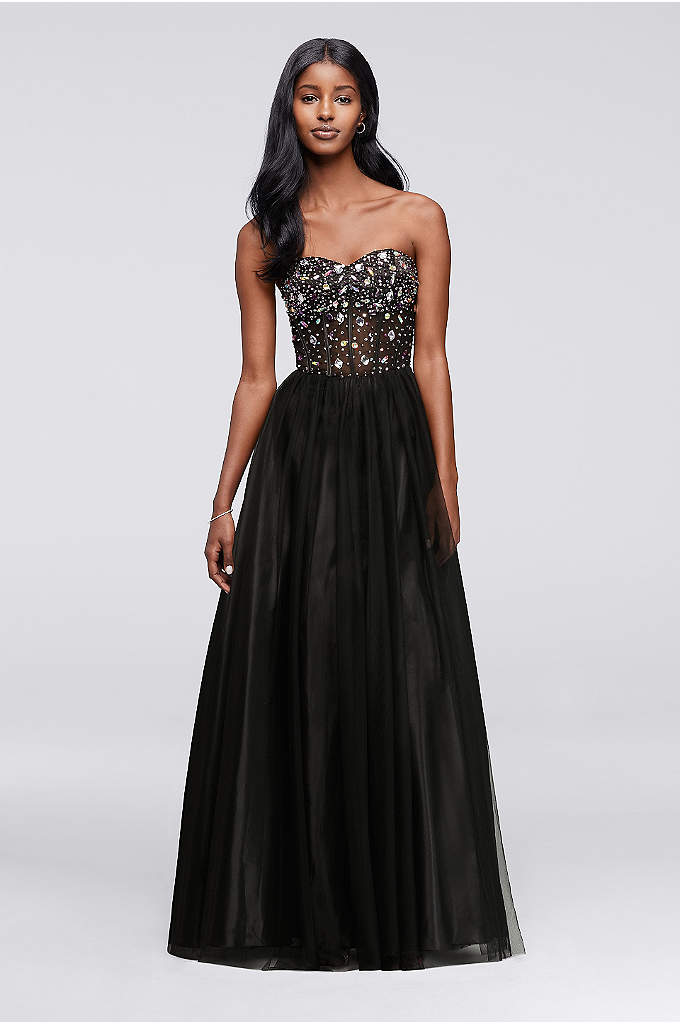 Crystal Beaded Corset Prom Dress with Tulle Skirt