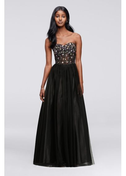 Crystal Beaded Corset Prom Dress with Tulle Skirt 55039E