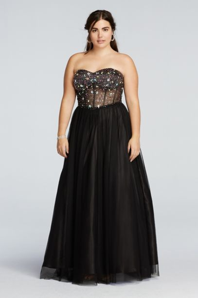Crystal Beaded Illusion Corset Prom Dress | David's Bridal