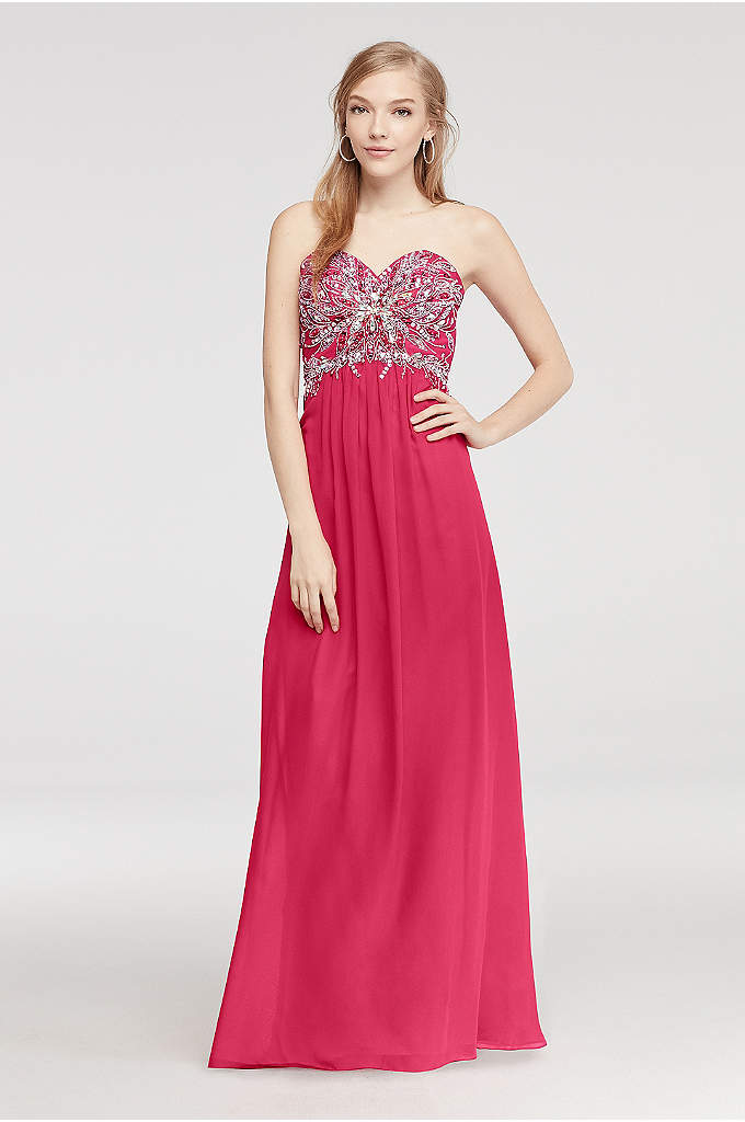 Strapless Beaded Chiffon Prom Dress with Tie Back