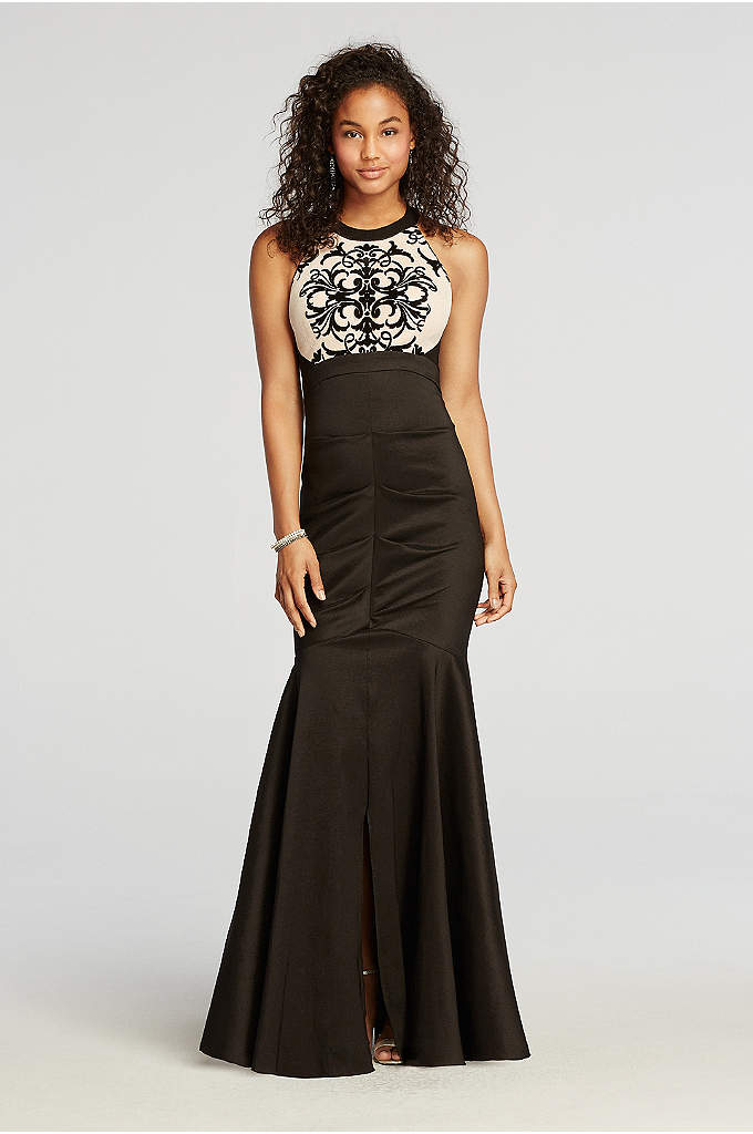 Halter Ruched Prom Dress with Embroidered Bodice