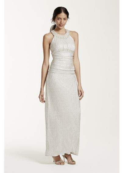 Long Sleeveless Ruched Foil Jersey Dress 55348D