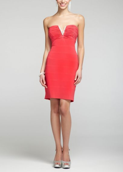 Strapless Jersey Dress with Rhinestone Detail 55375D
