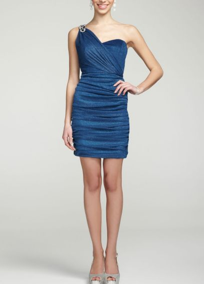 One Shoulder Glitter Mesh Dress with Crystals 55390D