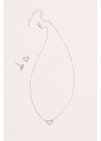 Flower Girl Crystal Heart Necklace and Earring Set 55410BZ