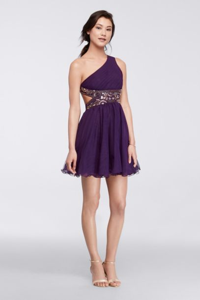One-Shoulder Short Dress with Metallic Bodice - Davids Bridal