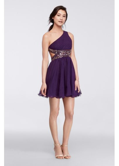 One-Shoulder Short Dress with Metallic Bodice 55442D