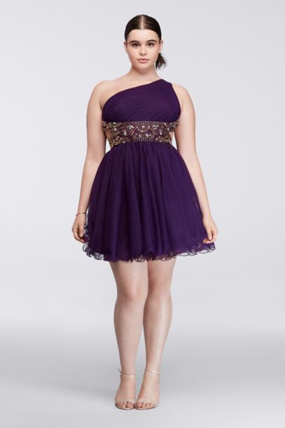 Plus Size Short Dress with Metallic Bodice - Davids Bridal