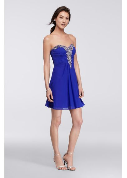 Short Dress with Beaded Sweetheart Bodice 55516D