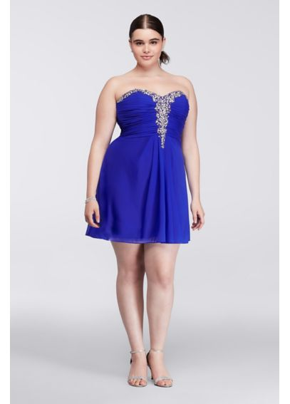 Short Plus Size Dress with Embellshed Bodice 55516W