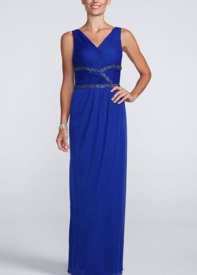 Sleeveless V Neck Long Dress with Beaded Waist 55548D