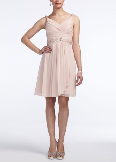 Short Mesh Drape Front Dress with Beaded Waist 55826D
