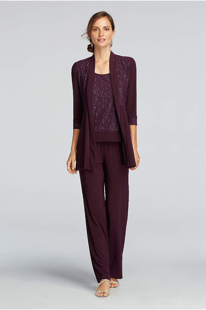 3/4-Sleeve Glitter Print Jacket and Pants Set - Comfortable meets sophisticated in this pant suit with