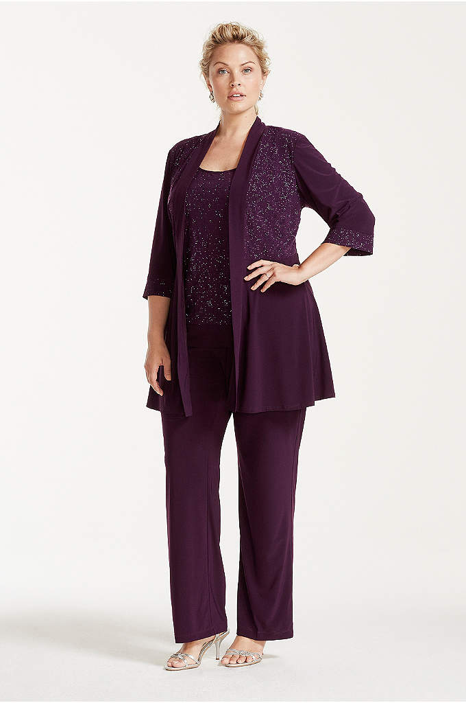 Plus Size Glitter Print Jacket and Pants Set - Comfortable meets sophisticated in this plus-size pant suit