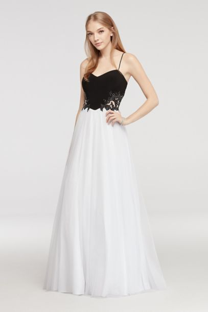 Spaghetti Strap Prom Dress With Illusion Sides David S