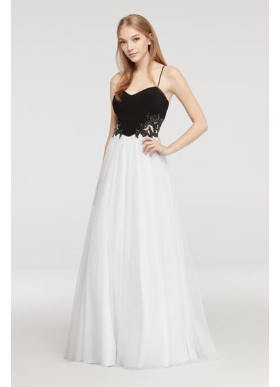Spaghetti Strap Prom Dress with Illusion Sides | David\'s Bridal
