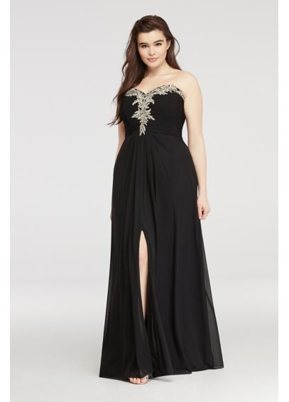 Prom Dress with Embroidered Lace and Slit 56101W