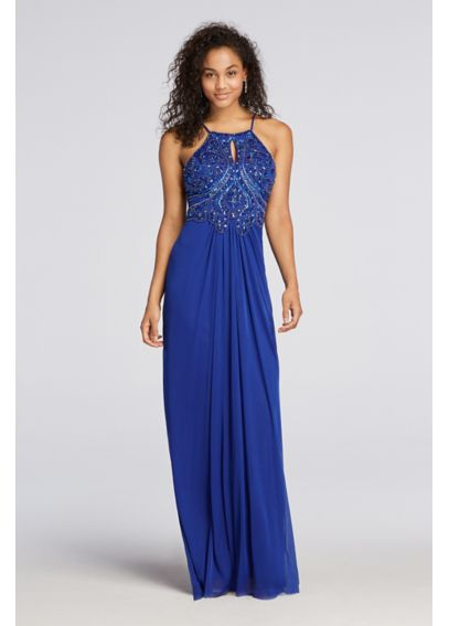 Beaded  Halter Prom Dress with Keyhole 56115