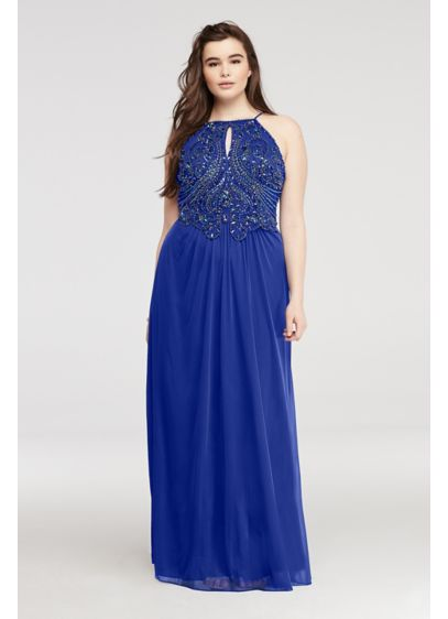 Long A-Line Halter Prom Dress - Blondie Nites
