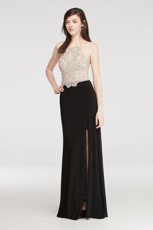 Lack Long Halter Prom Dresses
