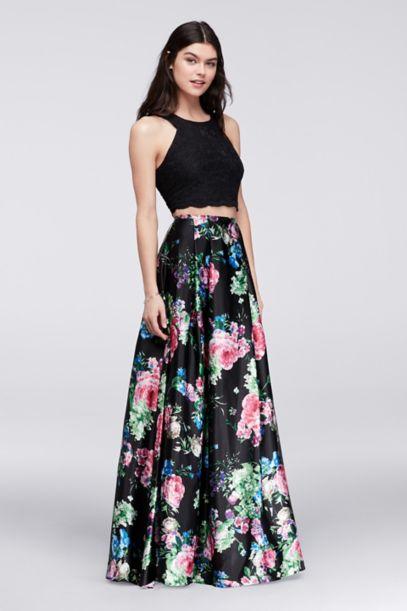Cutaway Crop Top And Floral Skirt Two Piece Set Davids