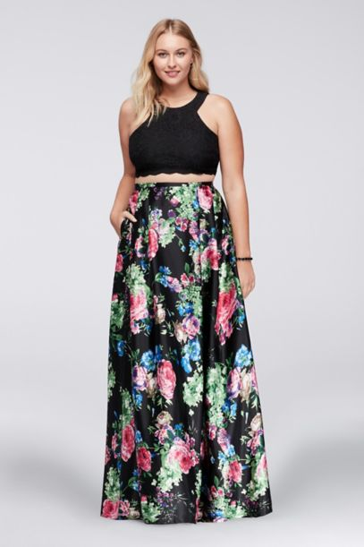 Cutaway Crop Top and Floral Skirt Plus Size Set | David's Bridal