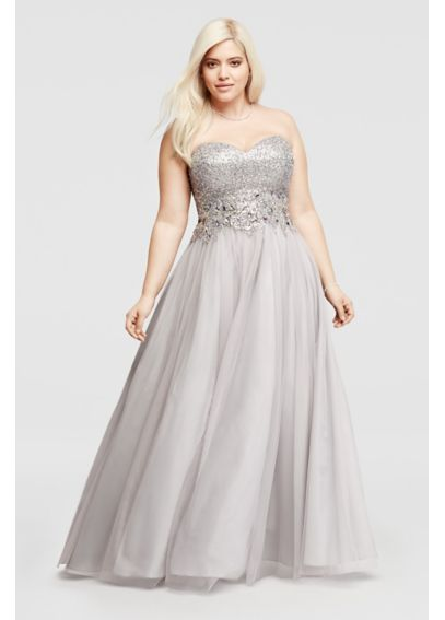 Embellished Long Strapless Tulle Prom Dress 56226W