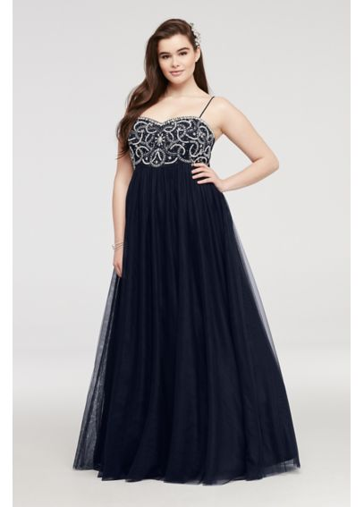 Spaghetti Strap Prom Dress with Beaded Bodice 56284W