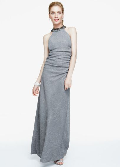 Sleeveless Glitter Knit Long Jersey Dress  56385D