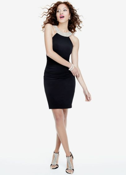 Sleeveless Ruched Jersey Dress with Beaded Back 56449D