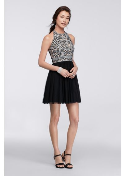 Short Homecoming Dress with Geo Sequin Bodice 56611