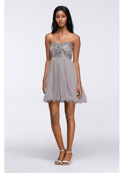 Short Homecoming Dress with Ornate Beaded Bodice 56612