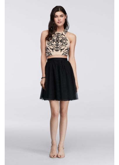 Short A-Line Halter Prom Dress - Blondie Nites