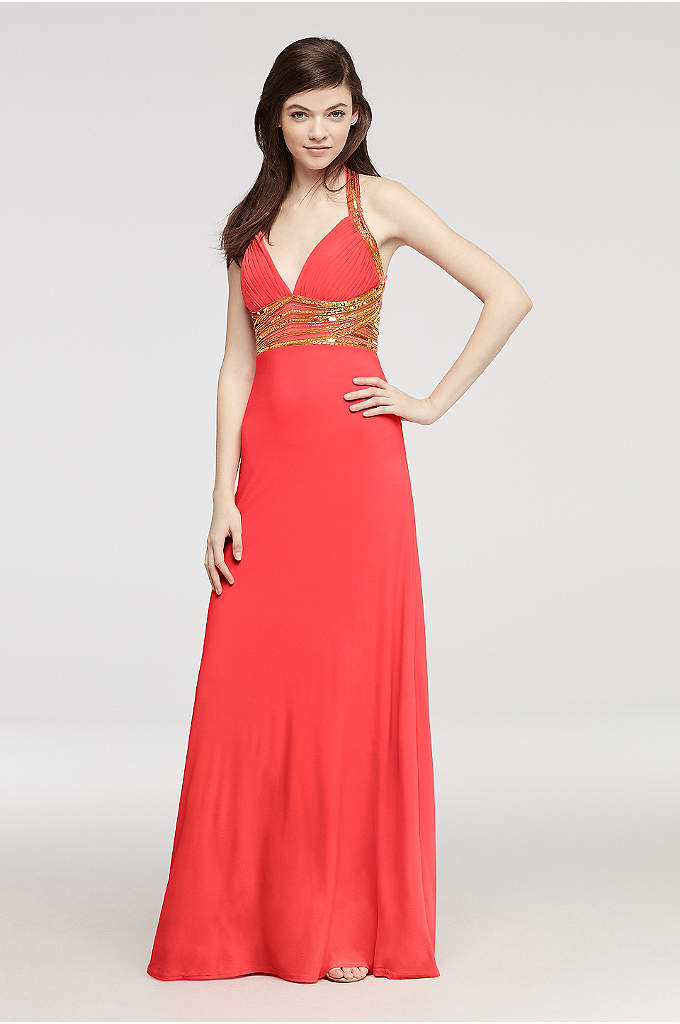 Beaded Halter Jersey Prom Dress with Open Back