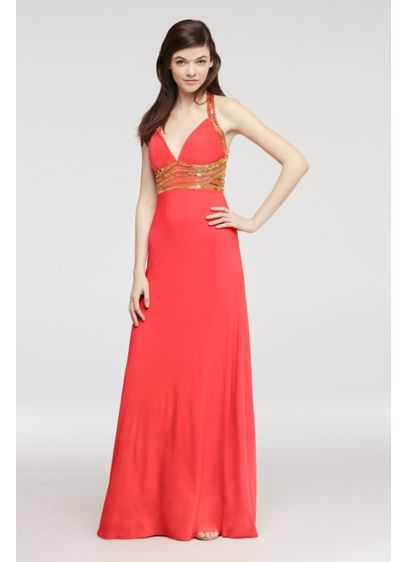 Long A-Line Halter Prom Dress - Cachet