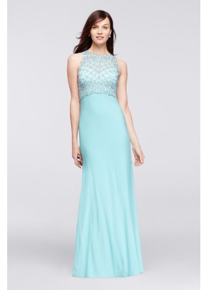 Beaded Illusion Pop Over Long Jersey Dress 56872D