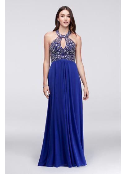 Long A-Line Halter Prom Dress - Blondie Nites